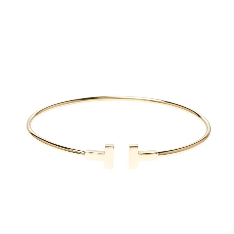 Tiffany Co T Wire 18k Yellow Gold Narrow Bracelet Tiffany Co Tlc