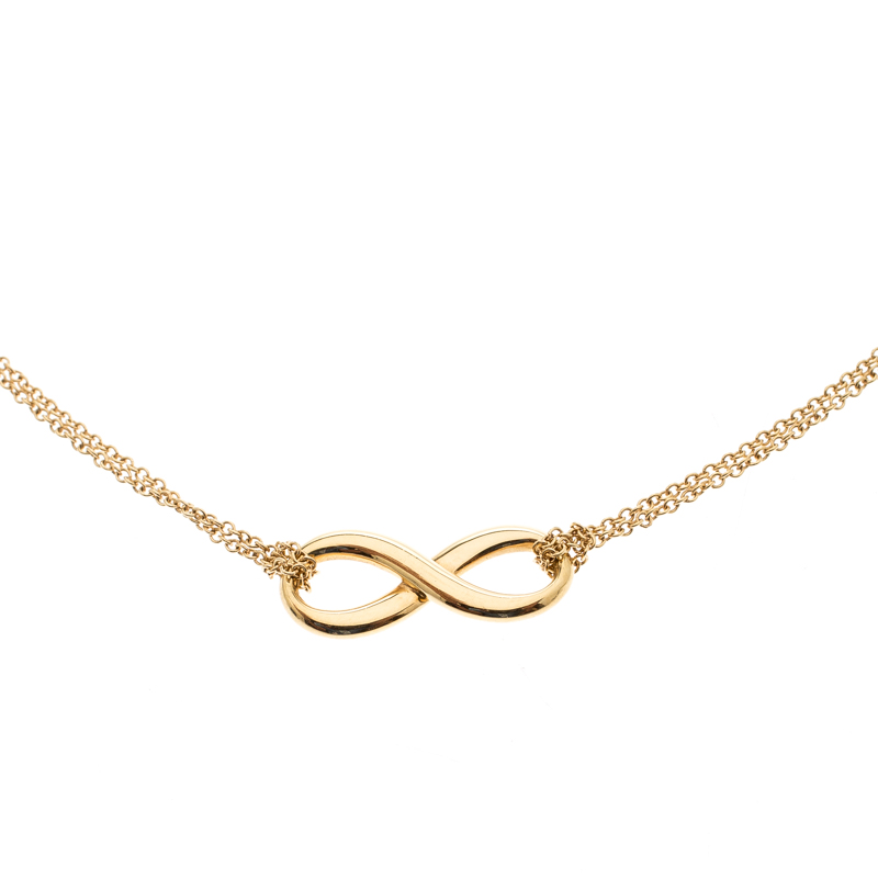 e85fd234f403c Tiffany & Co. Infinity 18k Yellow Gold Double Chain Pendant Necklace