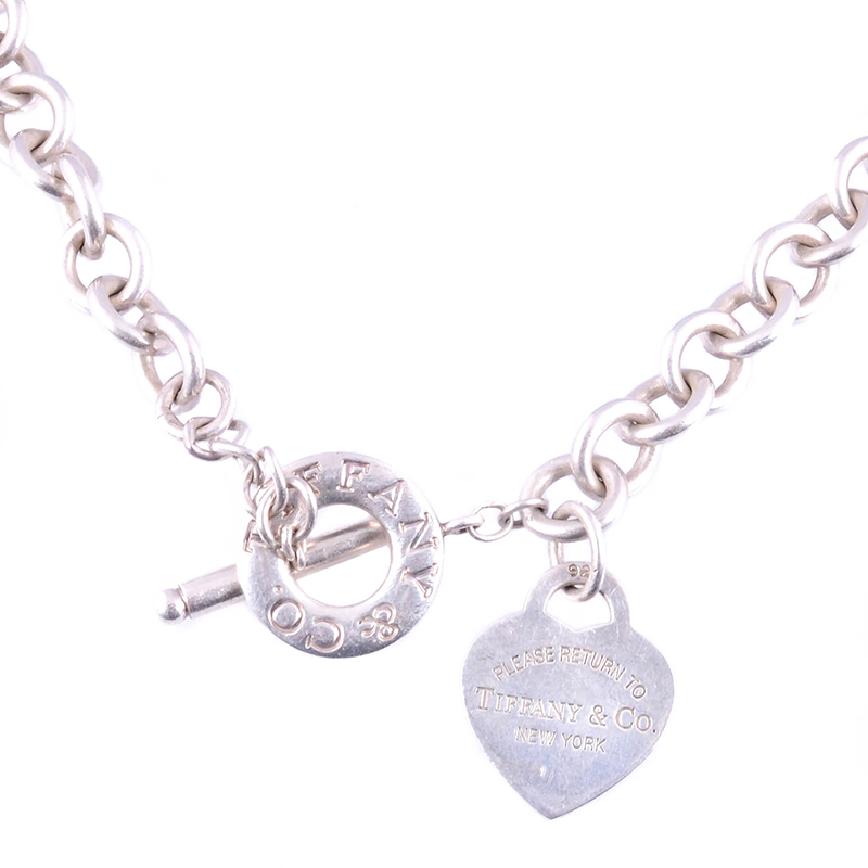 Tiffany Co Heart Tag Charm Silver Chain Toggle Necklace Tiffany Co Tlc