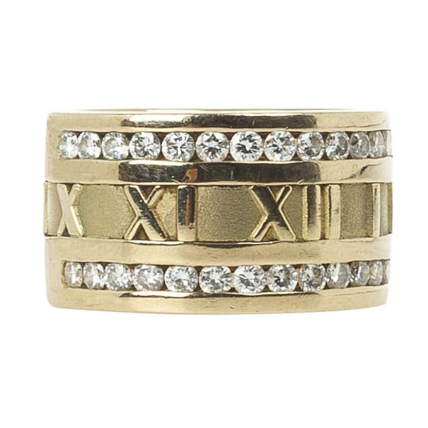 c6ee84aad Buy Tiffany & Co. Atlas Vintage Diamond Yellow Gold Ring Size 56 ...