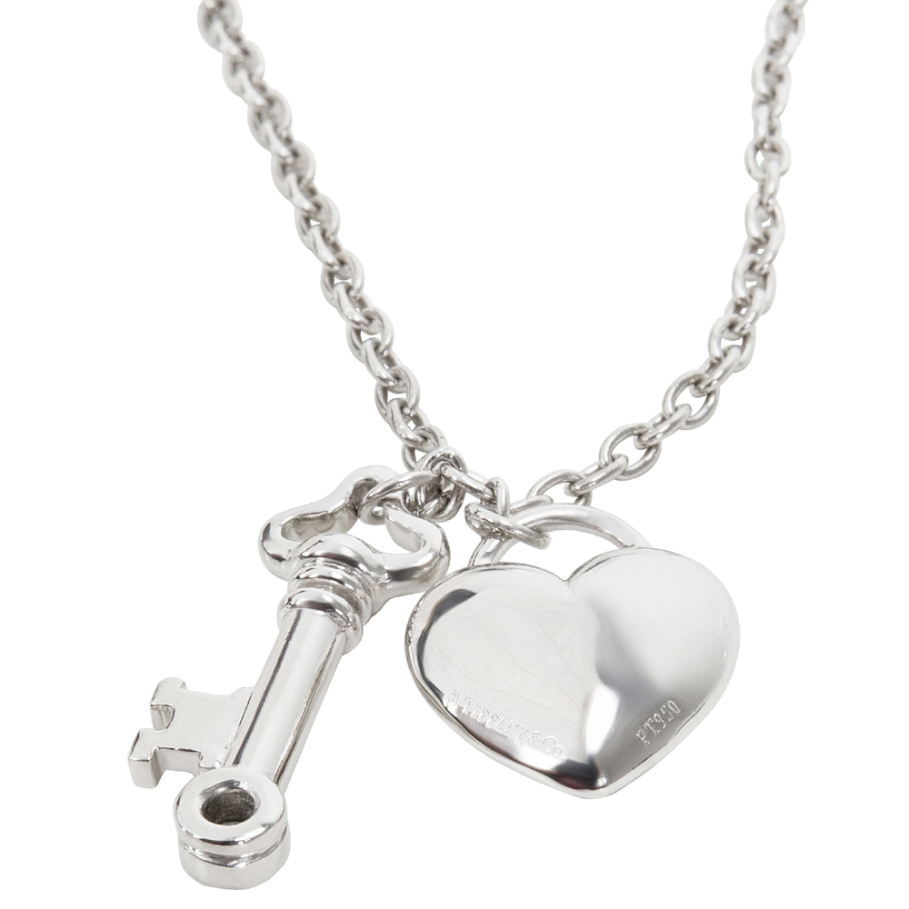 Tiffany Co Heart Lock Key Charm Diamond Platinum Necklace Tiffany Co Tlc