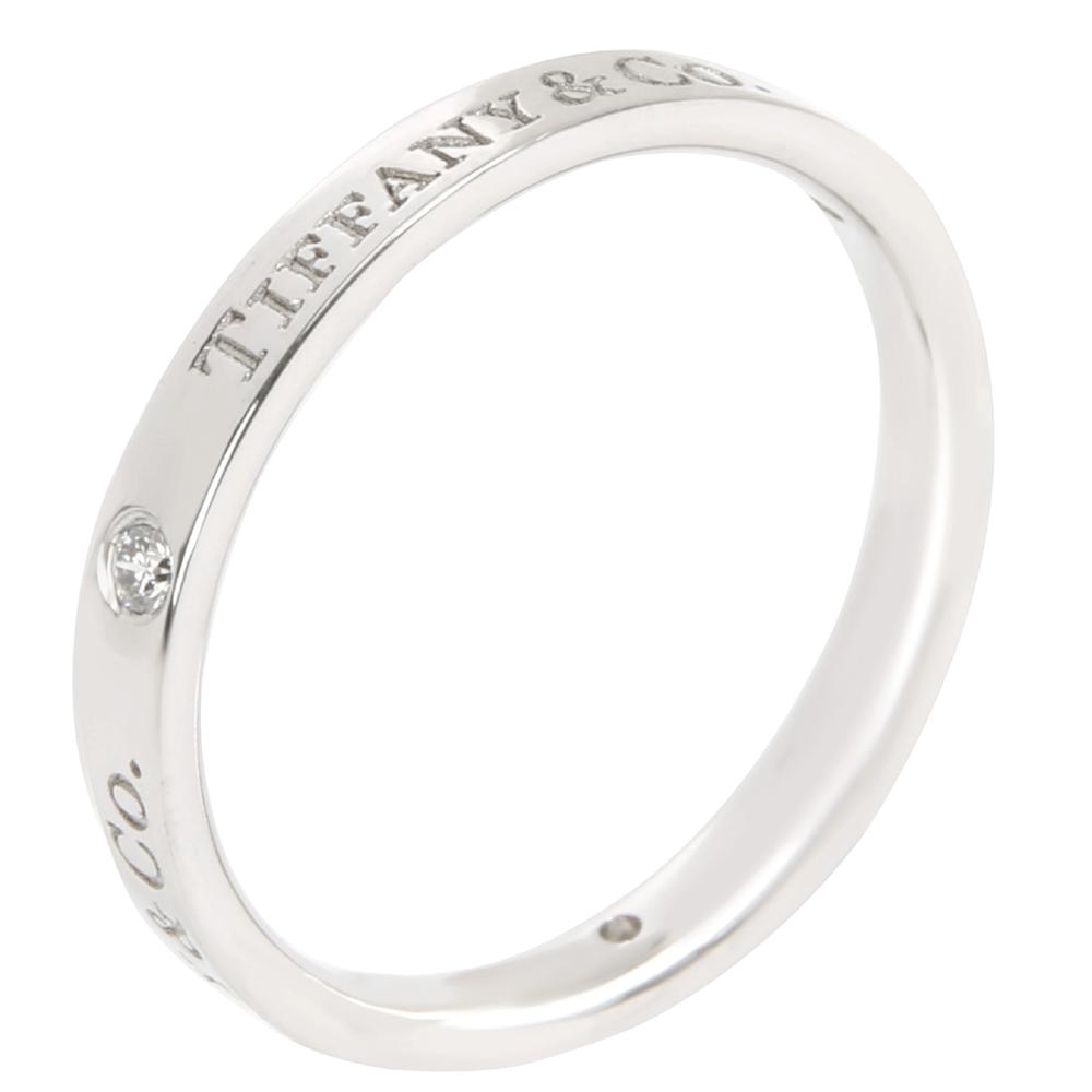 Tiffany & Co. Diamond 0.07 CTW Platinum Band Ring Size 58