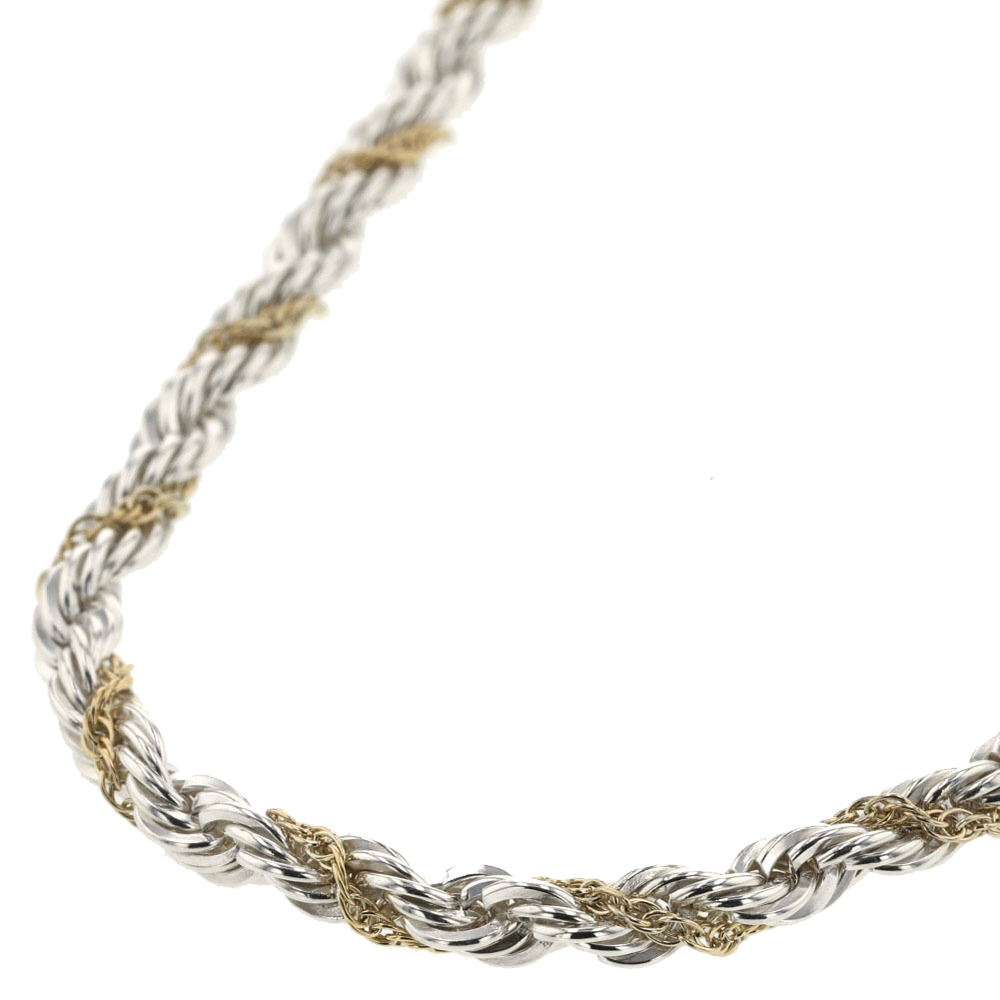 Tiffany Co Twisted Rope 18k Yellow Gold Silver Chain Necklace Tiffany Co Tlc