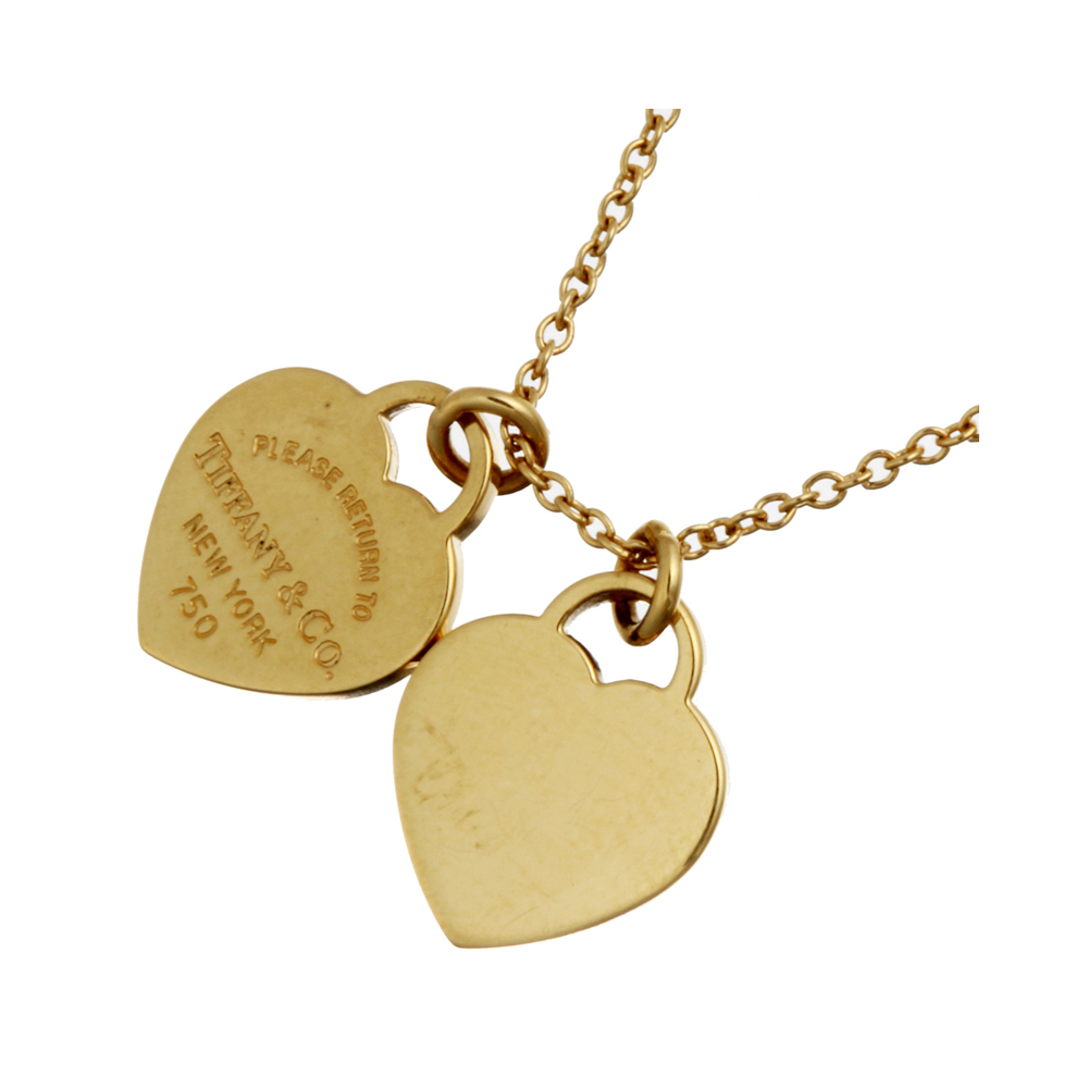 Tiffany Co Return To Mini Double Heart Tag 18k Yellow Gold Pendant Necklace Tiffany Co Tlc