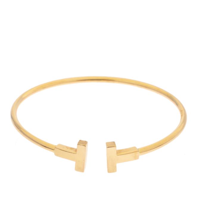 Tiffany Co T Wire 18k Yellow Gold Narrow Open Bracelet Tiffany Co Tlc