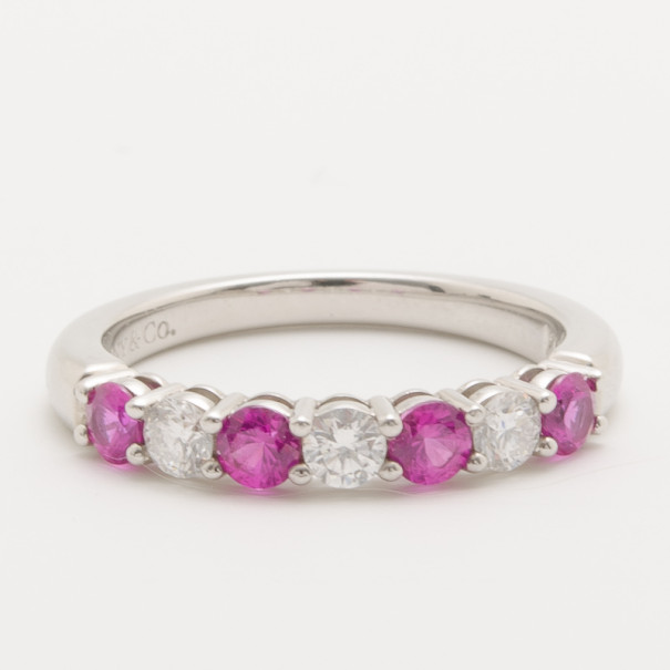 Купить со скидкой Tiffany & Co. Diamond and Pink Sapphire Band Ring Size 52.5