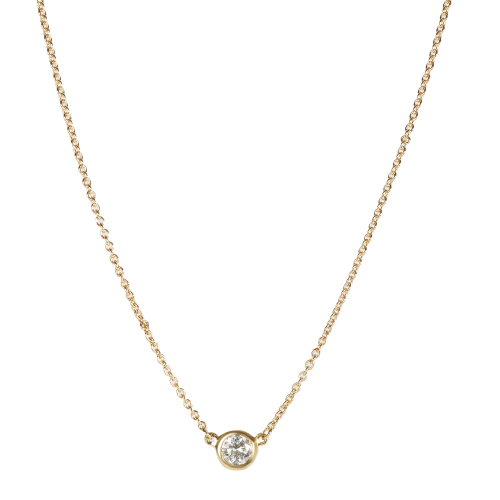 Pre-owned Tiffany & Co Tiffany Elsa Peretti Diamond By The Yard 18k Yellow Gold Necklace