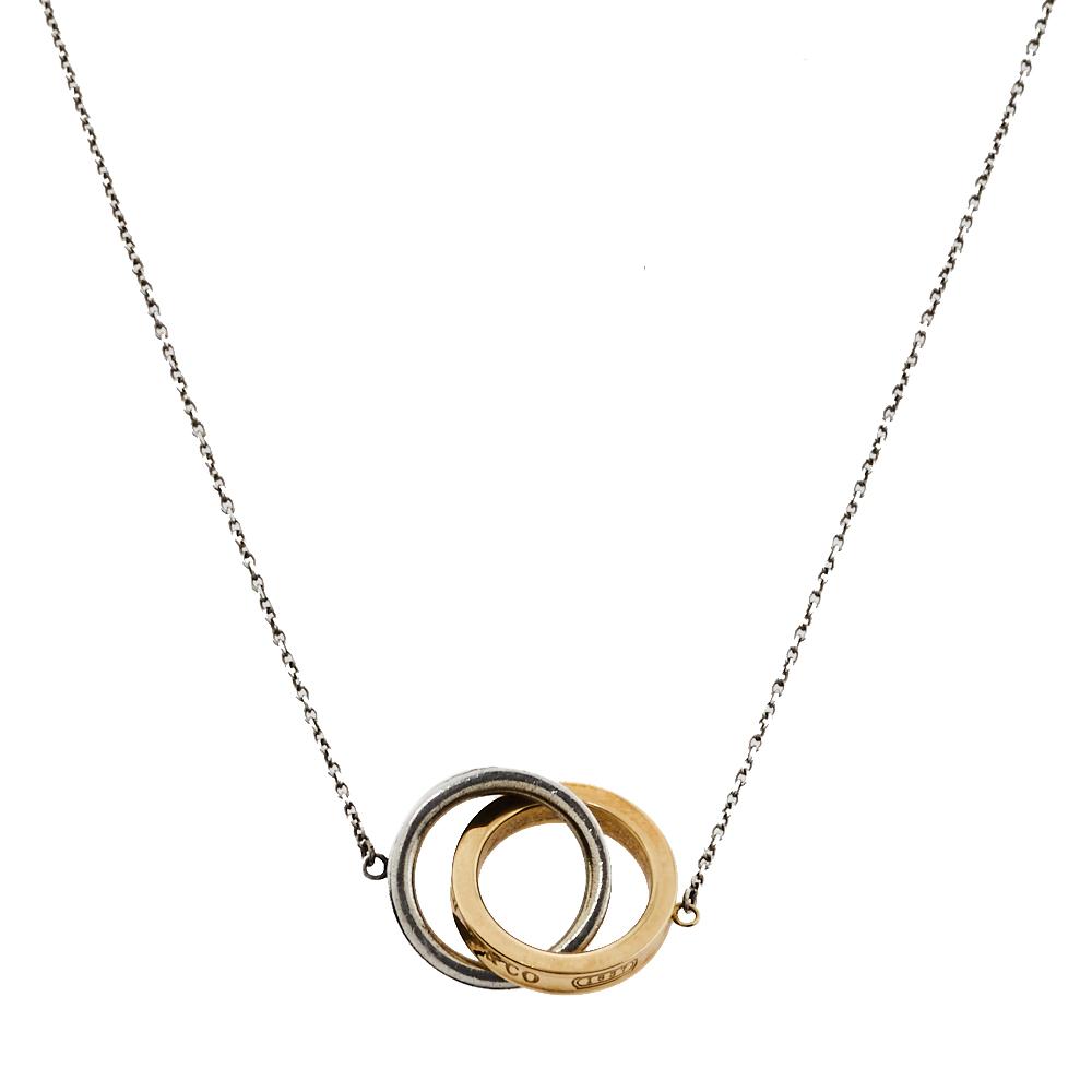 Tiffany & Co. Tiffany 1837 Interlocking Circles Silver & 18K Yellow Gold Pendant Necklace