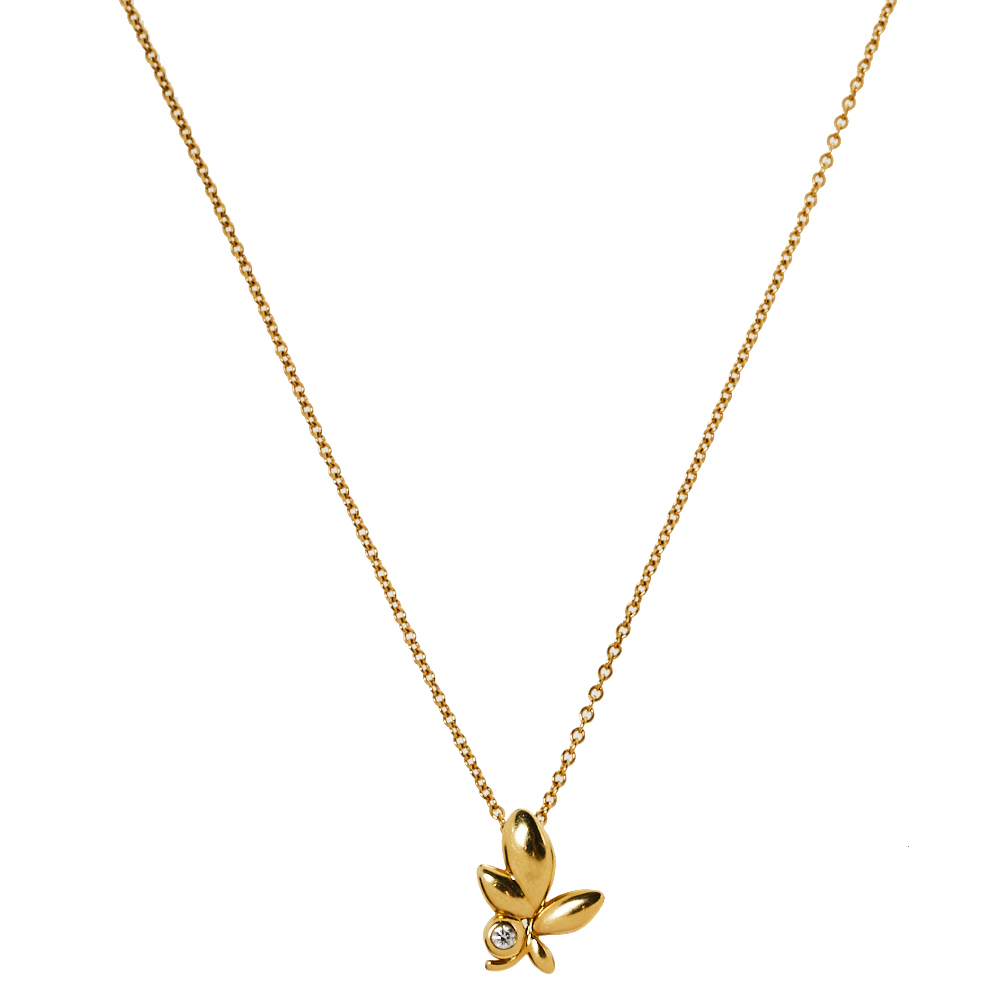Pre-owned Tiffany & Co Paloma Picasso Olive Leaf Diamond 18k Yellow Gold Pendant Necklace