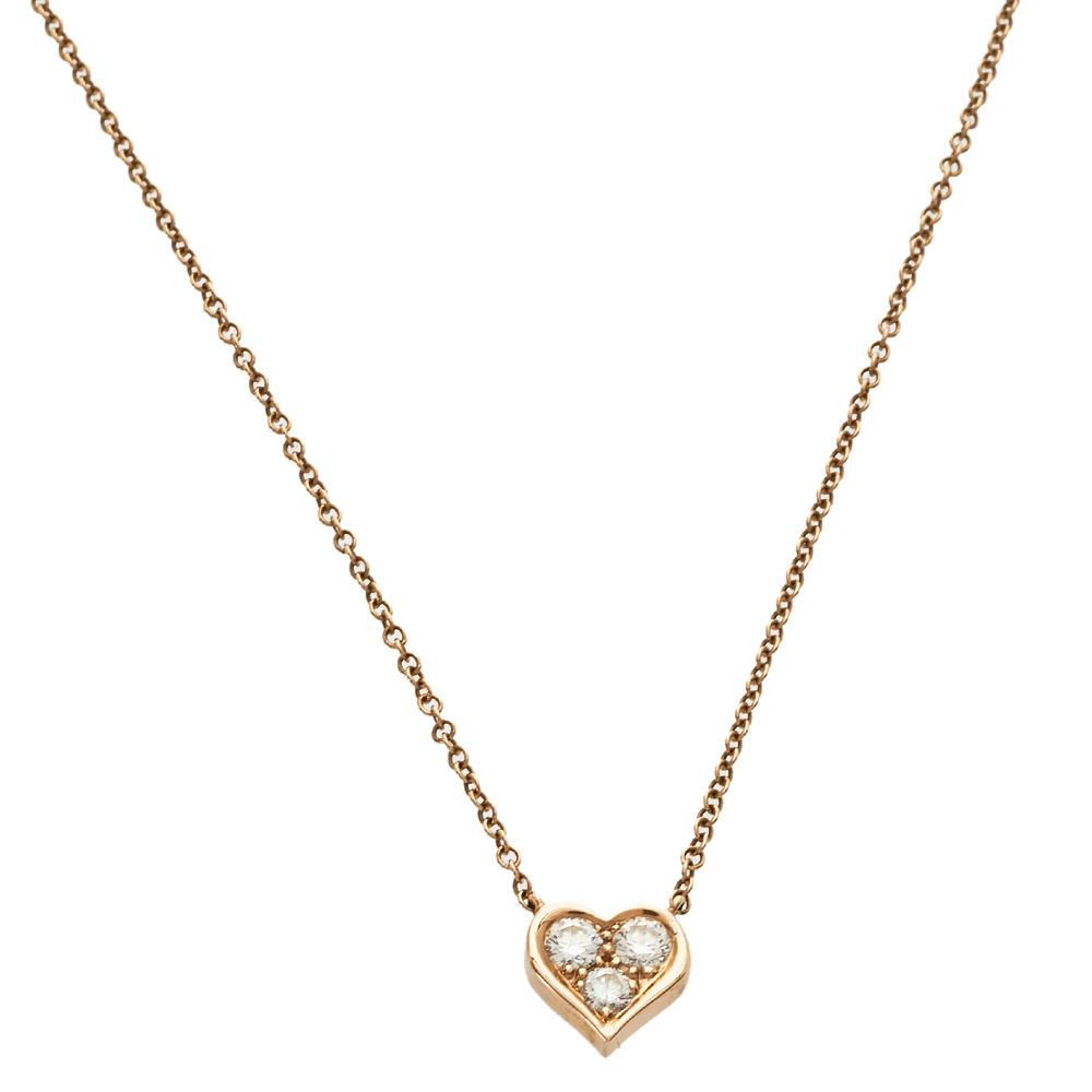 Pre-owned Tiffany & Co Heart Diamond 18k Rose Gold Pendant Necklace
