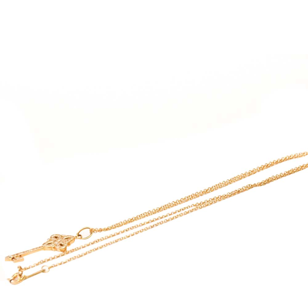 Tiffany & Co. 18K Rose Gold Diamond Victoria Key Pendant Necklace  - buy with discount