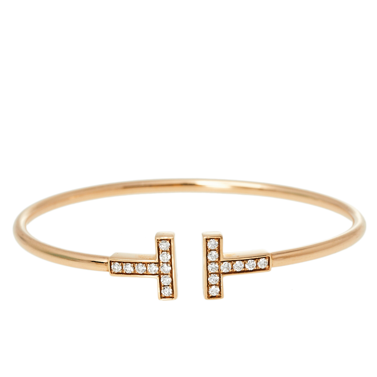 Pre-owned Tiffany & Co Tiffany T Wire Diamond 18k Rose Gold Narrow Open Cuff Bracelet