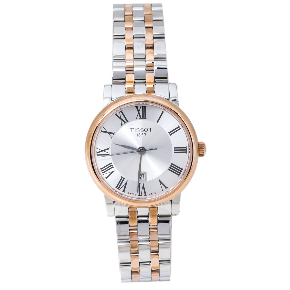Pre-owned Tissot Silver Two-tone Stainless Steel Carson Premium T122210a Women's Wristwatch 30 Mm