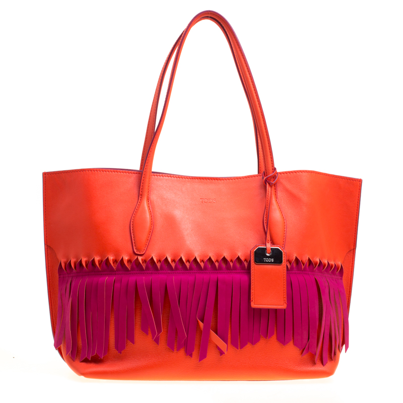 Tods Coral Redfuchsia Pink Leather Origami Fringe Shopping Tote
