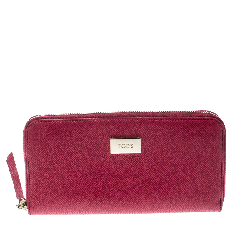 7ea7b858c3 Buy Tod's Fuchsia Leather Zip Around Continental Wallet 158496 at ...