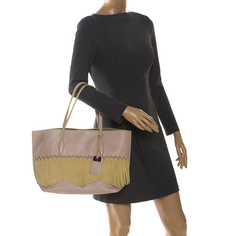 Tod's Beige/Jaune Cuir Origami Frange Shopping Tote