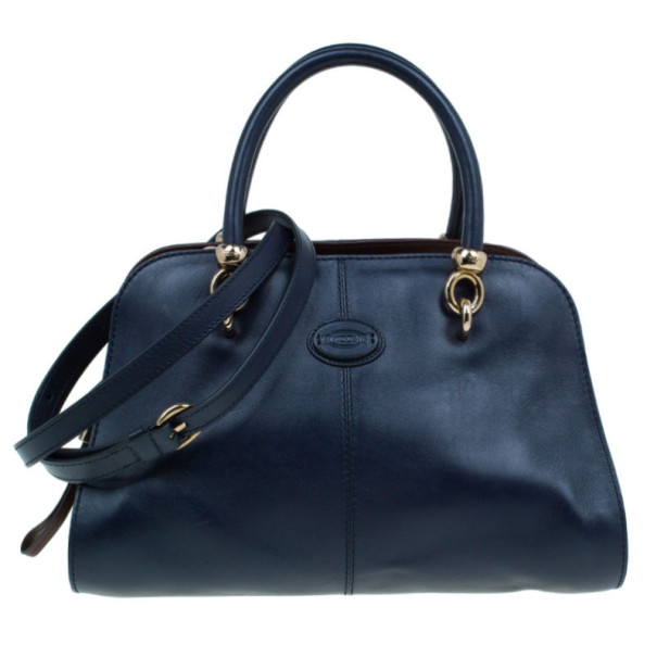 Buy Tod s Navy Leather Small Sella Bowler Bag 7453 at best price  2a08324f2cd99