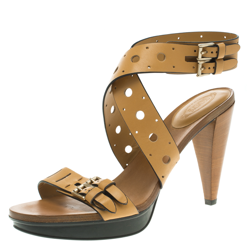 9e290a4f78019 ... Tod s Brown Leather Cut Out Criss Cross Ankle Strap Platform Heel  Sandals Size 39.5. nextprev. prevnext