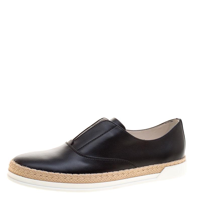 f62054f24 ... Tod's Black Leather Francesina Espadrille Slip On Sneakers Size 39.  nextprev. prevnext