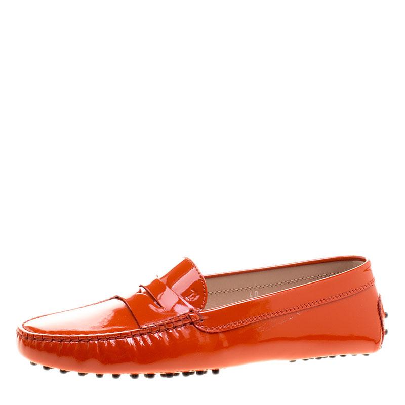 6296001bb13a ... Tod s Orange Patent Leather Penny Loafers Size 40. nextprev. prevnext
