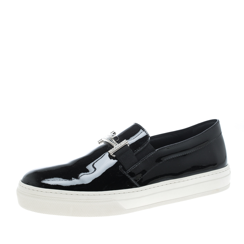 9c08f9545bf ... Tod s Black Patent Leather Sportivo Maxi Crystal Double T Slip On  Sneakers Size 40. nextprev. prevnext
