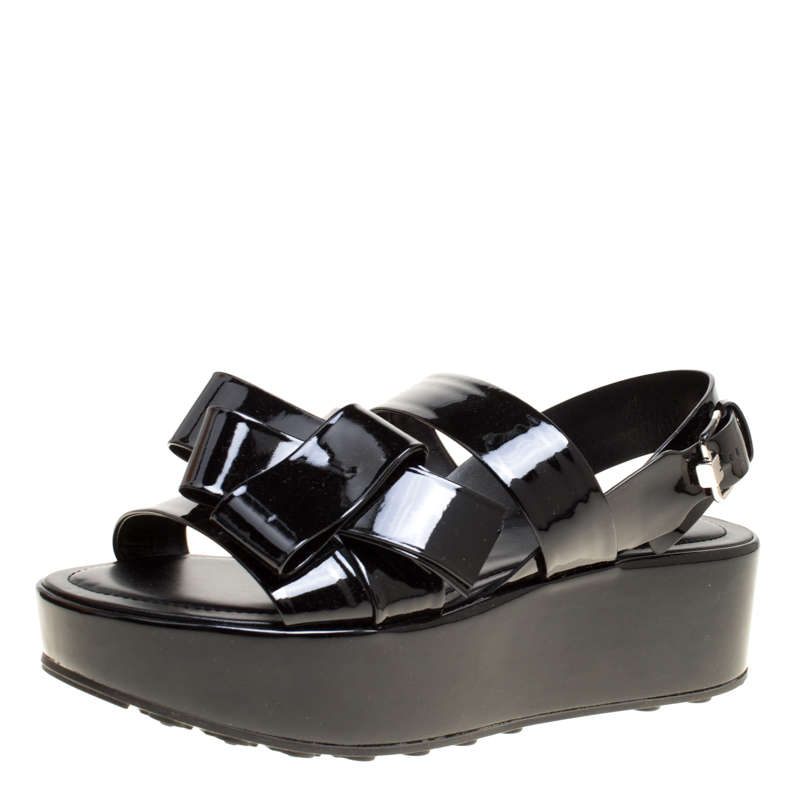 Купить со скидкой Tod's Black Patent Leather Slingback Platform Sandals Size 40