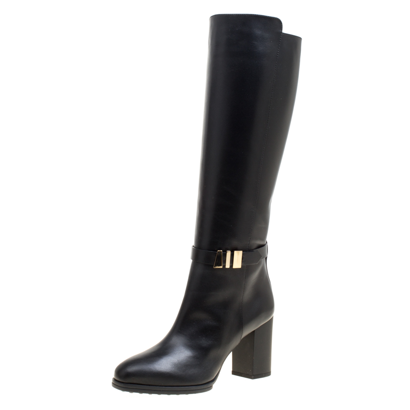 Tod's Black Leather Block Heel Buckle Tall Boots Size 36.5