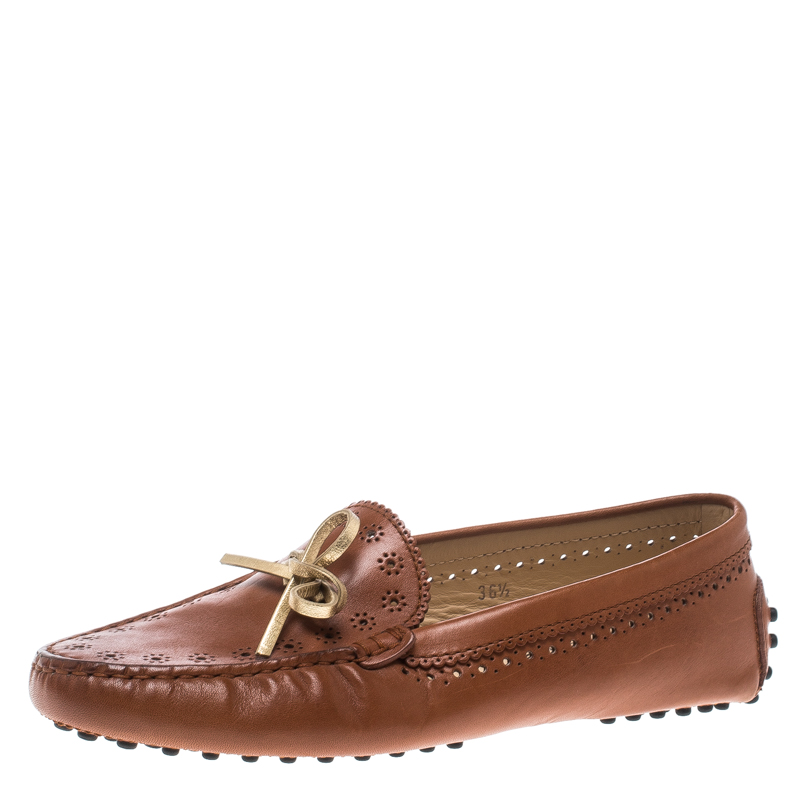 Tod's Brown Perforated Leather Bow Loafers Size 36.5