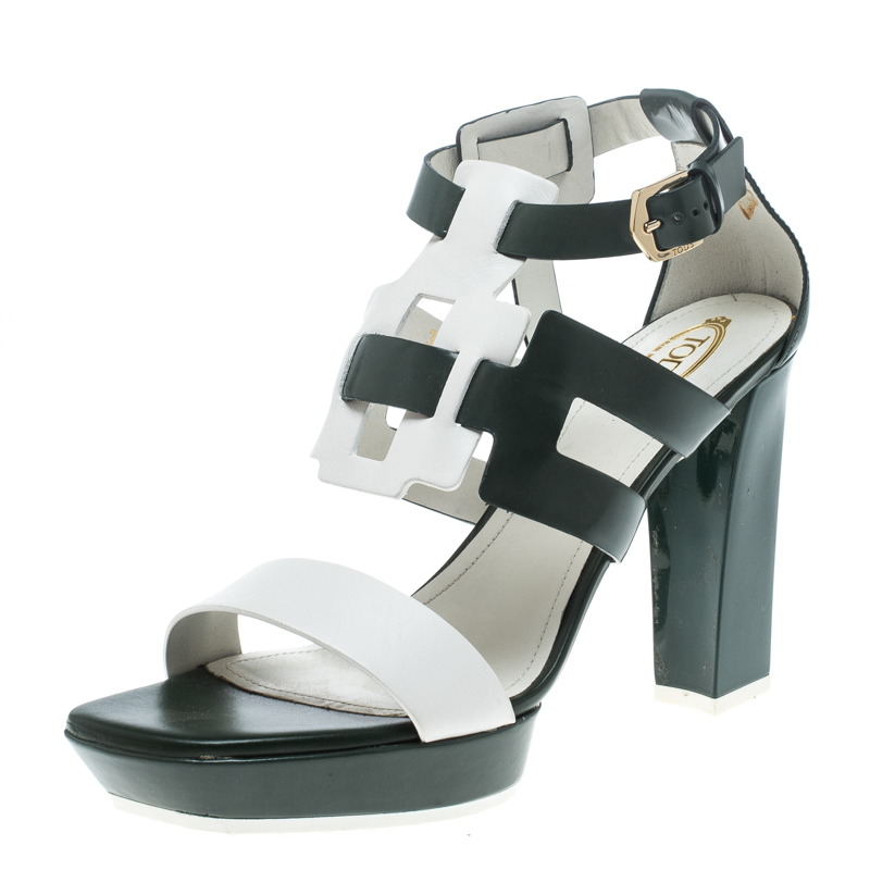 Купить со скидкой Tod's Green and White Leather Cutout Platform Sandals Size 39.5