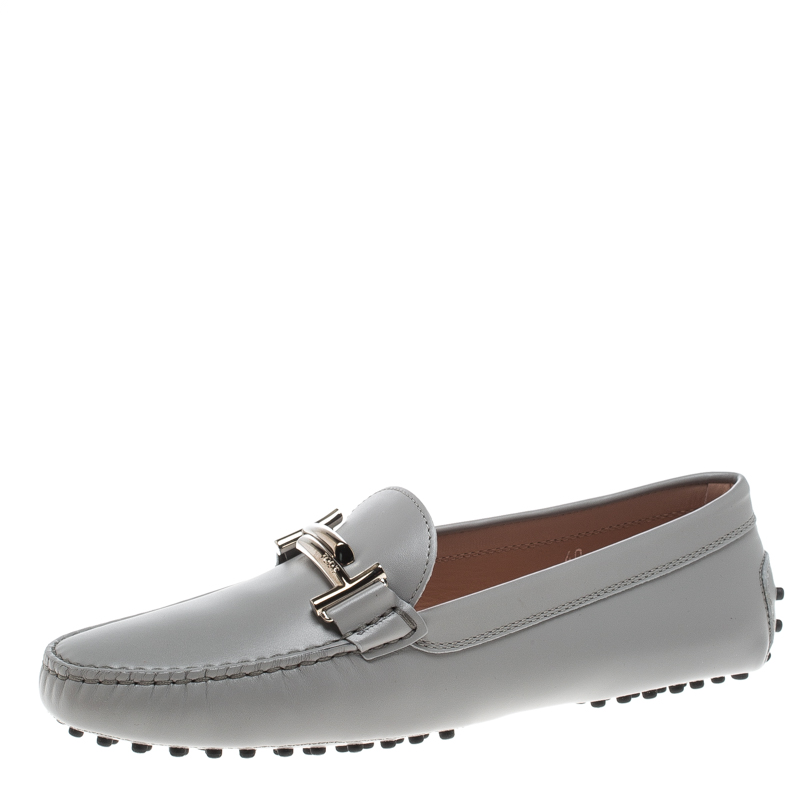 441e7a44bdfe Buy Tod s Light Grey Leather Double T Buckle Loafers Size 40 155298 ...