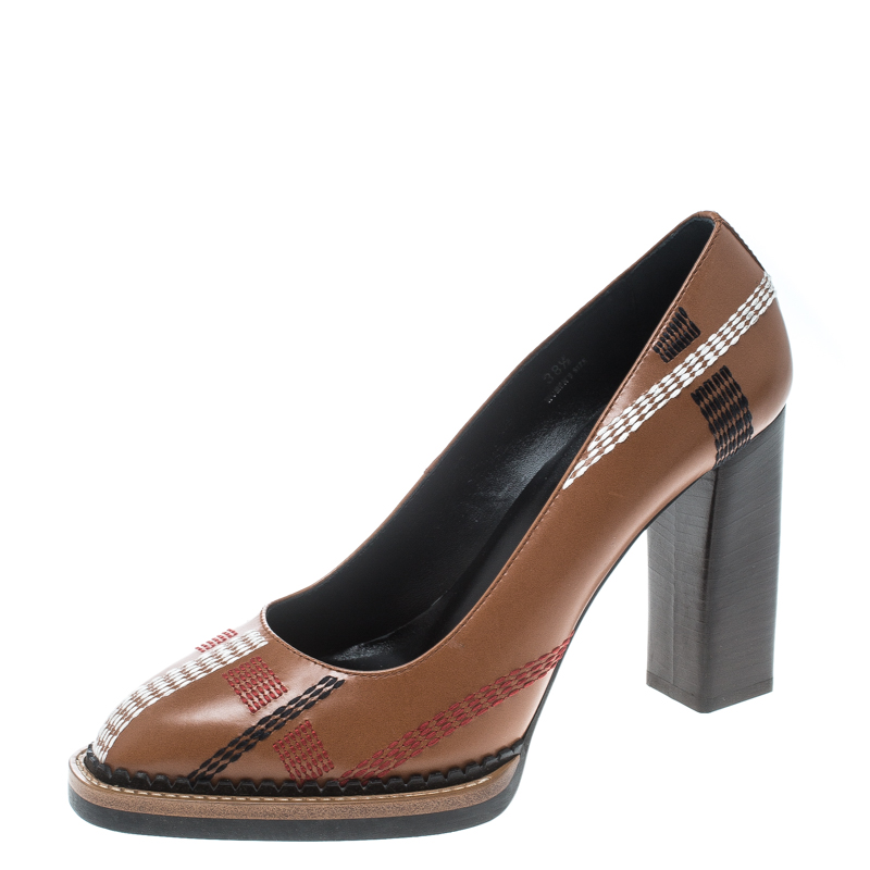 feefe709dbc3 ... Tod s Brown Leather Stitch Detail Block Heel Pumps Size 38.5. nextprev.  prevnext
