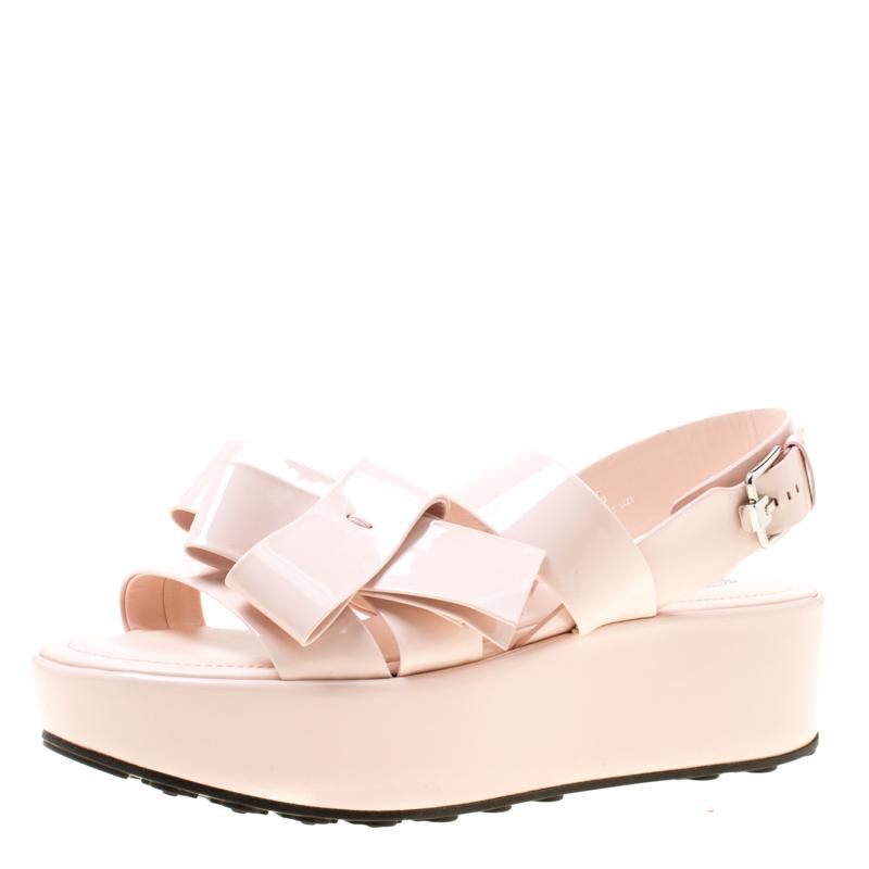 60d0f7811 ... Tod s Blush Pink Patent Leather Slingback Platform Sandals Size 39.  nextprev. prevnext