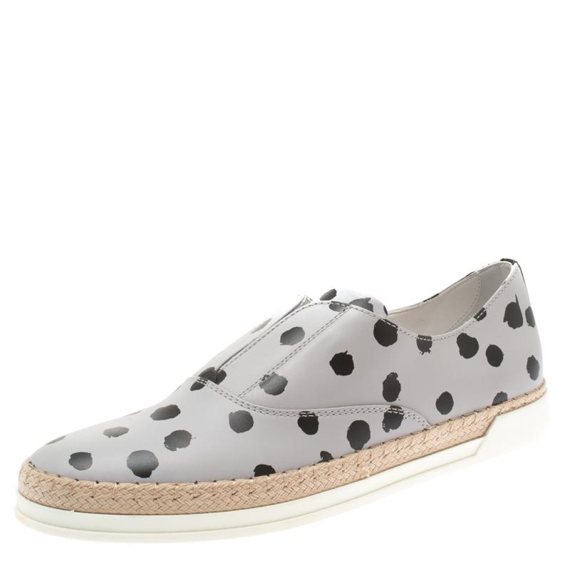3bd0befbc ... Tod's Grey/Black Dot Printed Leather Francesina Espadrille Slip On Sneakers  Size 39.5. nextprev. prevnext