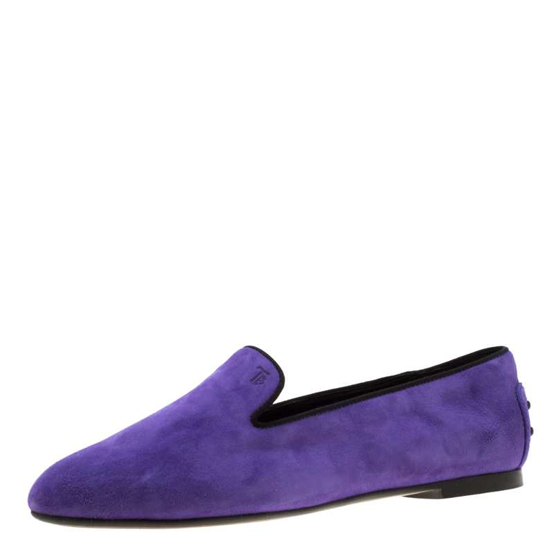 b5c90751f Buy Tod's Purple Suede Smoking Slippers Size 37.5 196896 at best ...