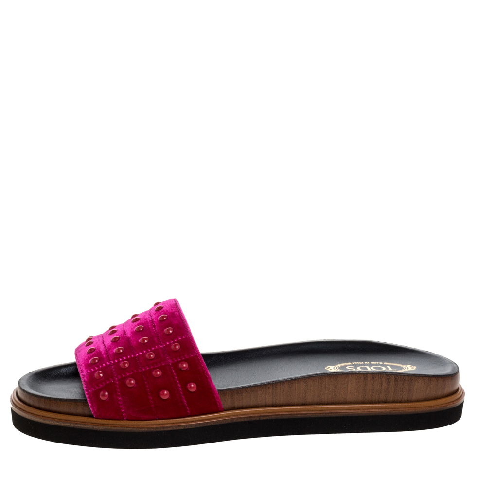 Tod's Red Velvet Studded Flat Slides Size 40, Tod's  - buy with discount
