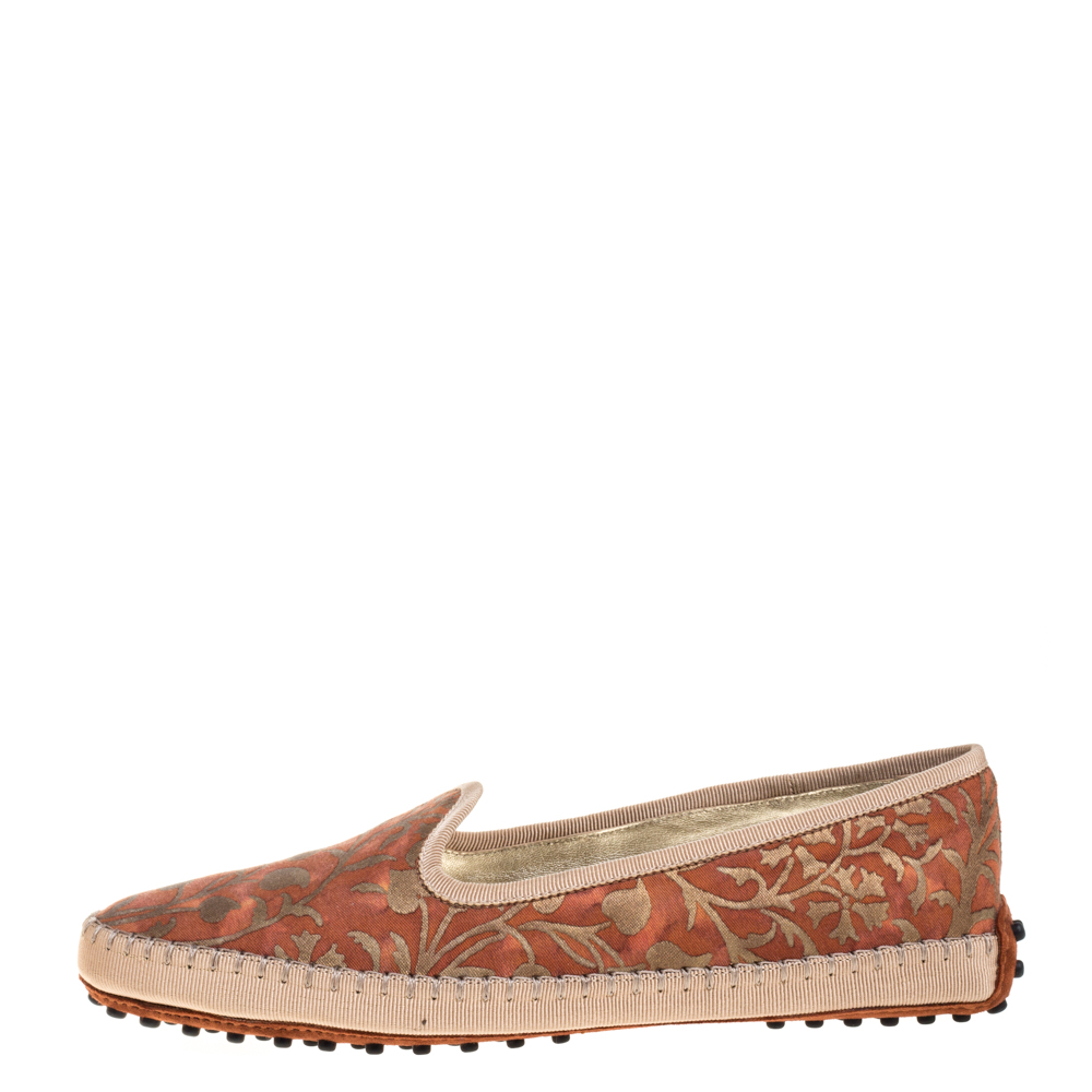 Tod's Orange Floral Printed Canvas Gommino Smoking Slippers Size 38.5