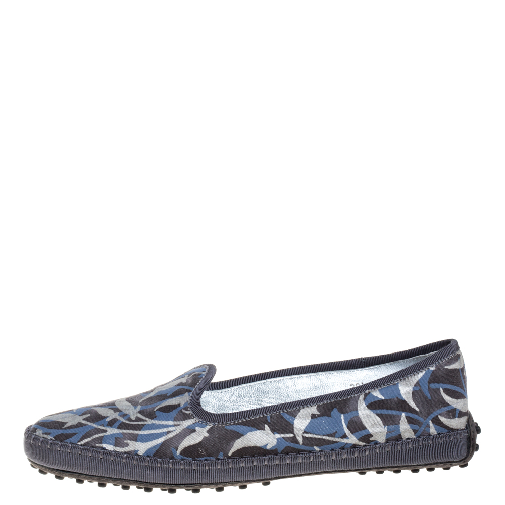 Tod's Multicolor Floral Printed Canvas Gommino Smoking Slippers Size 39.5
