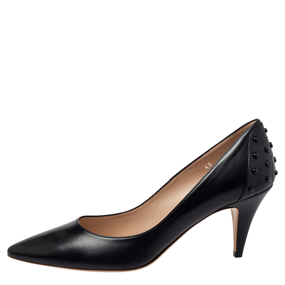 Tod's Black Leather Pointed Toe Slip On Pumps Size 40