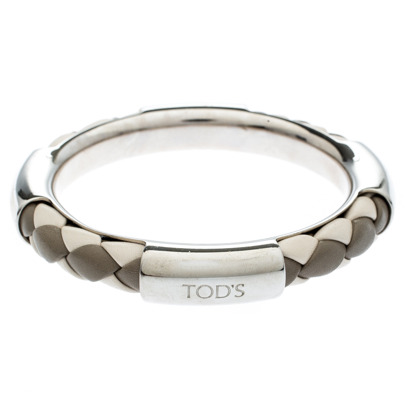 Tod S Woven Leather Silver Tone Bangle