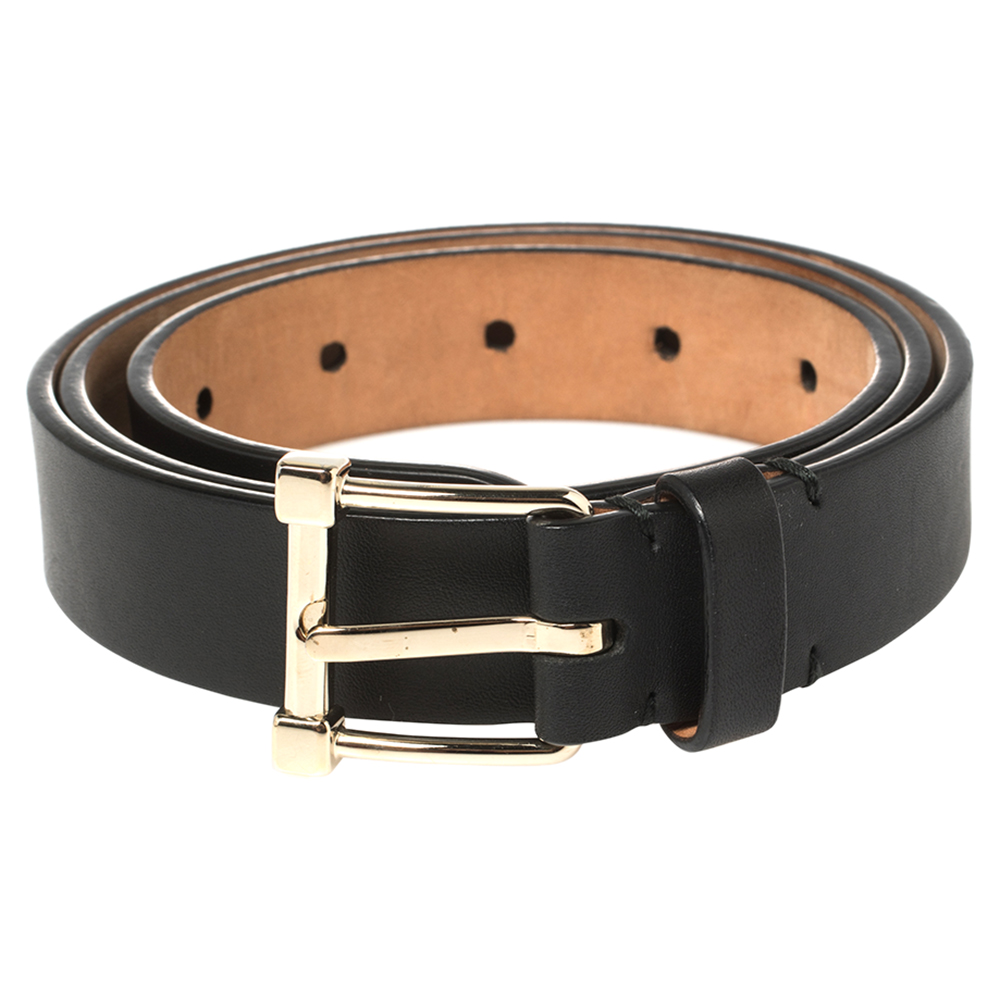 Tod's Black Leather Buckle Belt 85CM