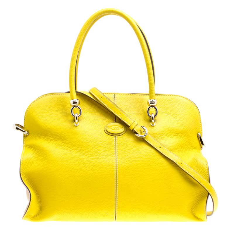 55fe489c33 Buy Tod's Yellow Leather Large Sella Top Handle Bag 157442 at best ...