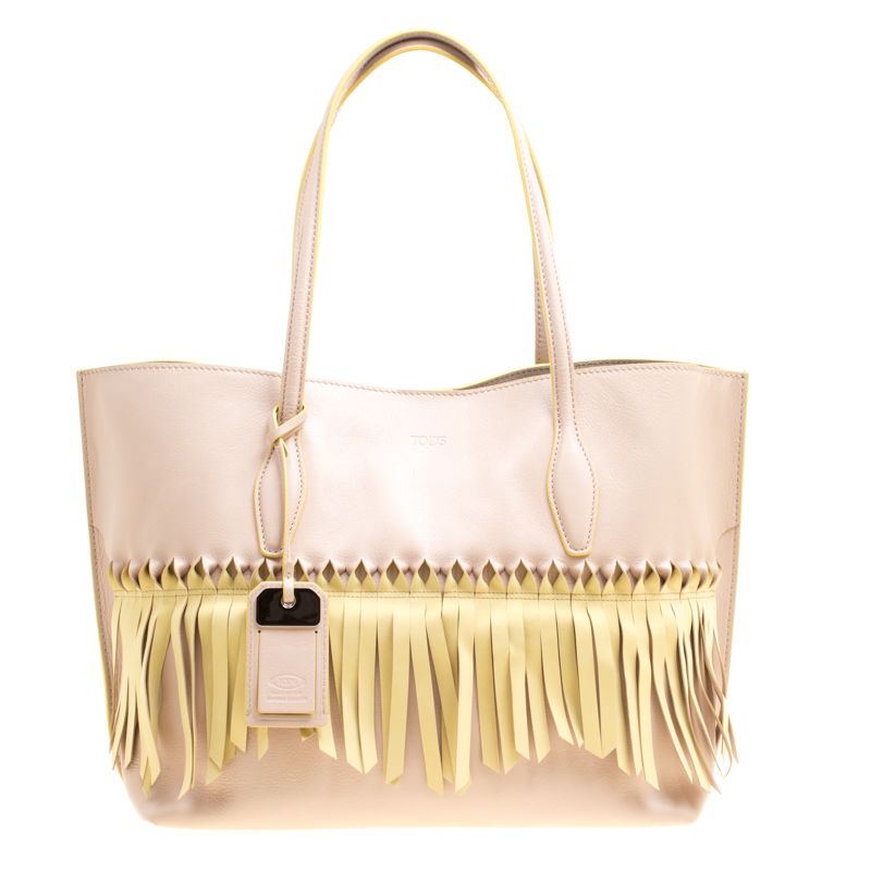 Tods Beigeyellow Leather Origami Fringe Shopping Tote