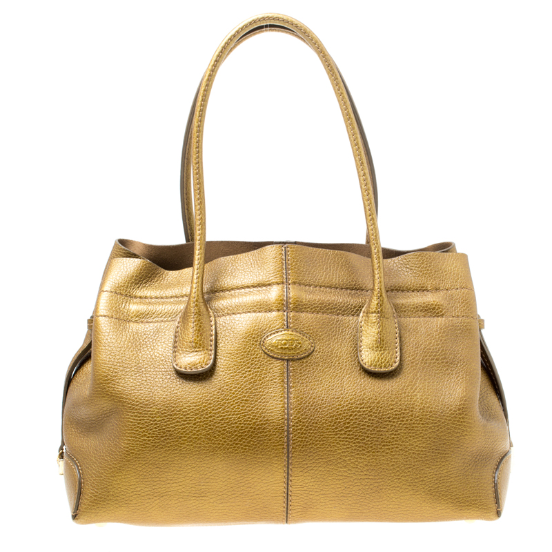 373e83d650 Buy Tod's Bronze Leather large D Bag Media Tote 171959 at best price ...