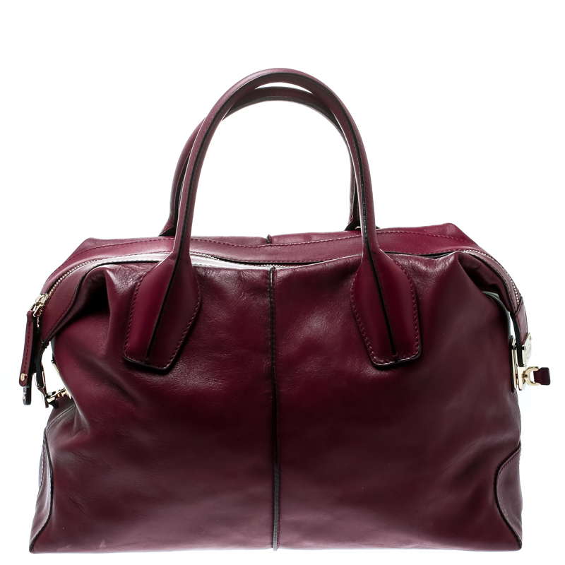 b0da92cb32e76 Buy Tod's Burgundy Leather D-Styling Medium Top Handle Bag 181082 at ...