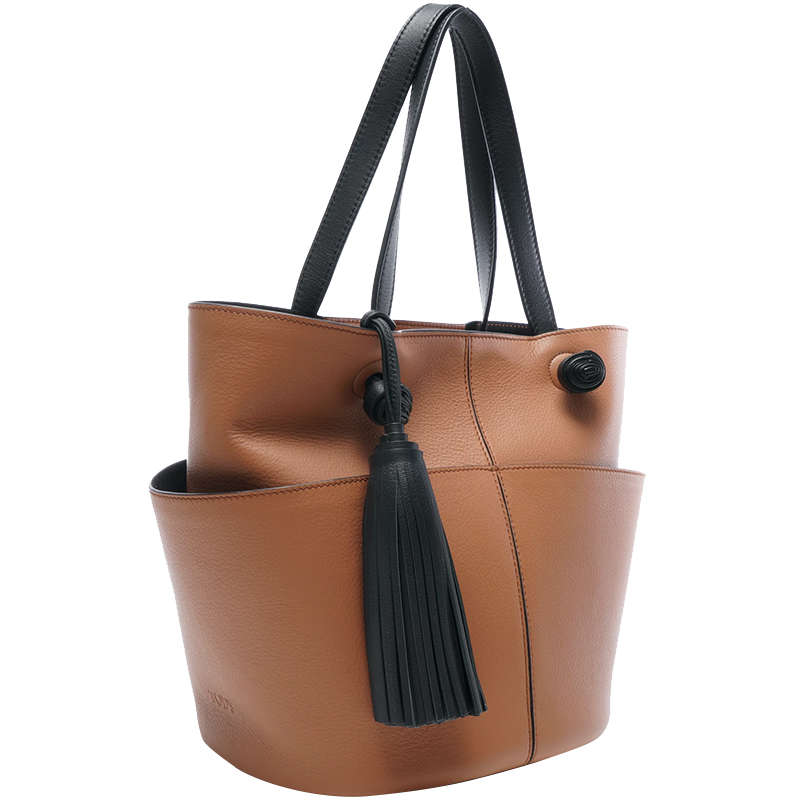 Tod's Brown Leather Tassel Applique Tote Bag