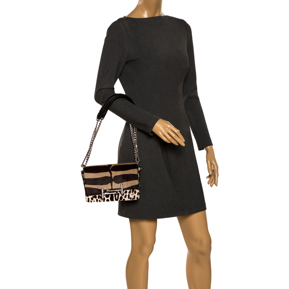 Tod's Brown/Beige Leopard Print Calf Hair Mini Double T Shoulder Bag, Tod's  - buy with discount