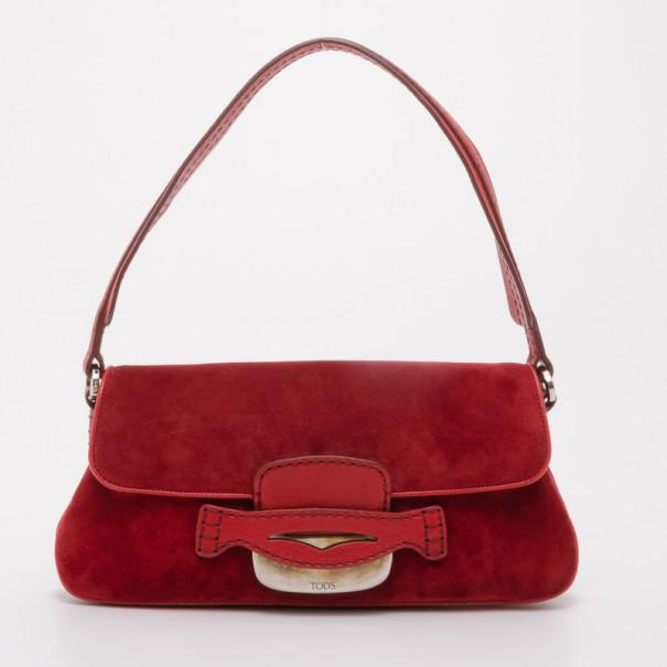 cfa5eb7b49 Buy Tod's Red Suede Shoulder Bag 37450 at best price | TLC