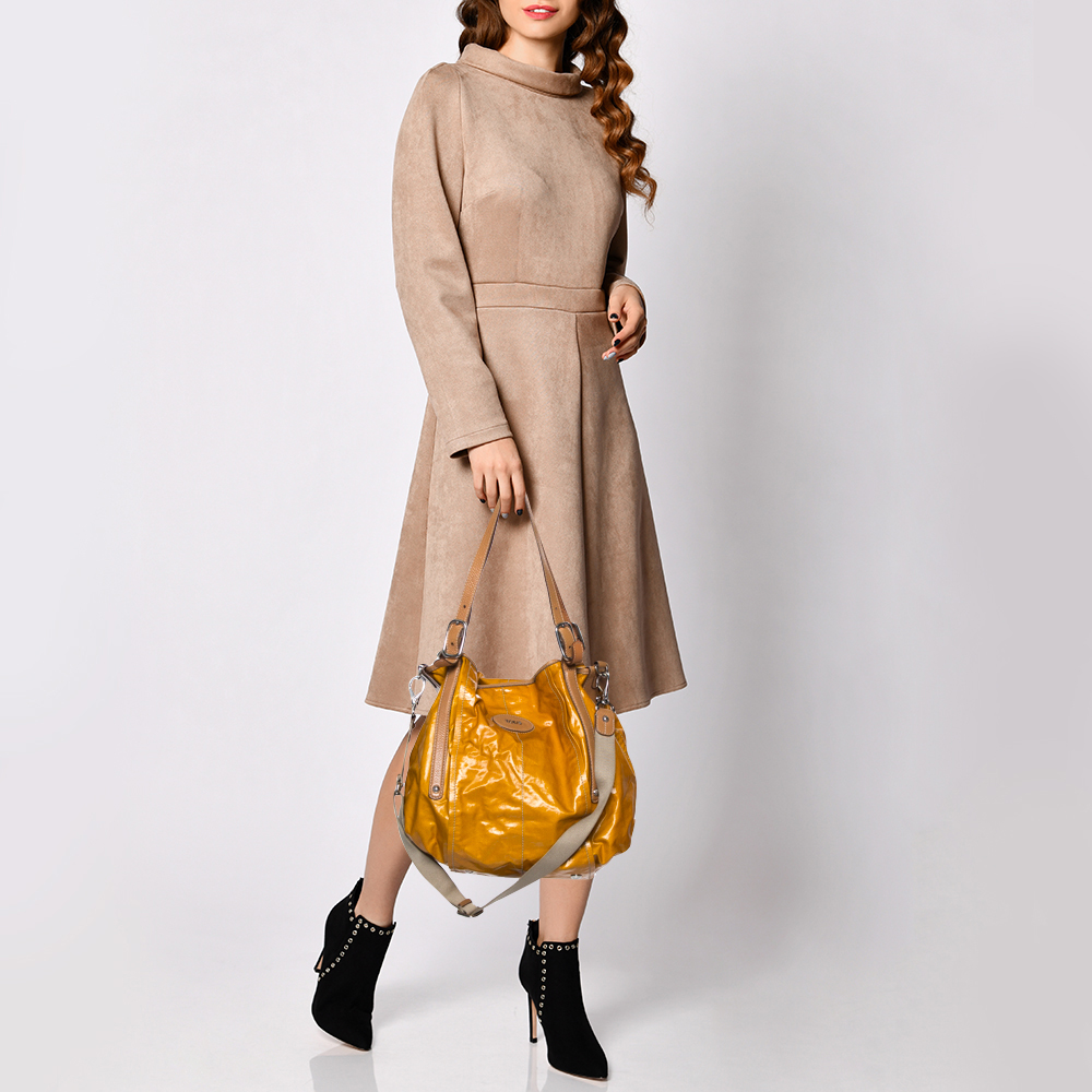 Tod's Tan/Yellow Coated Canvas And Leather Shoulder Bag