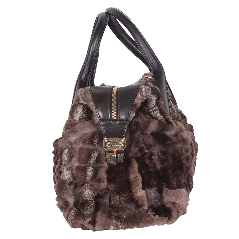Tod's Brown Fur D-Styling Bauletto Satchel Bag