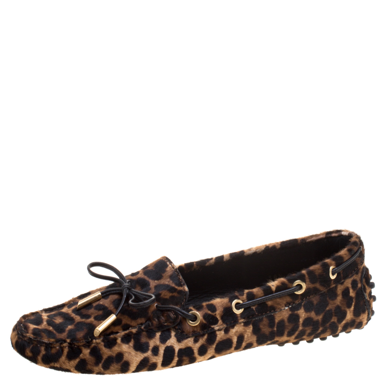 8347e1d8364b ... Tod's Brown Leopard Print Calf Hair Bow Loafers Size 38.5. nextprev.  prevnext